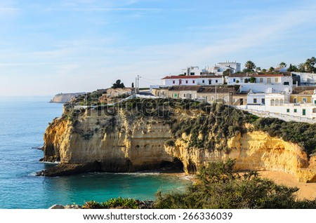 A view of Carvoeiro city in southern Portugal, Europe