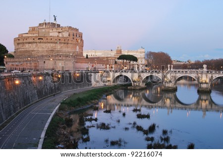 A view of Castel Sant'Angelo and the bridge over the Tiber in Rome - stock photo
