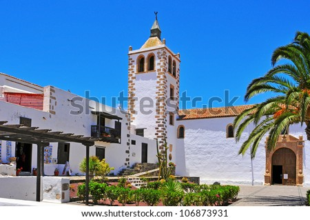 a view of Cathedral Church of Saint Mary of Betancuria in Fuerteventura, Canary Islands, Spain - stock photo