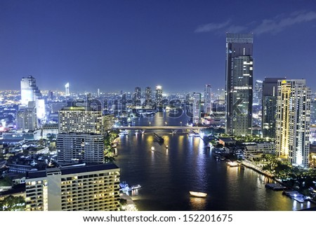 A view of Chao Praya River, Bangkok City on high building, Thailand - stock photo