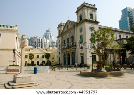 A view of classical chruch architecture in Macau - stock photo
