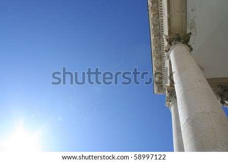 A view of columns of Superga basilica (Turin, Italy)