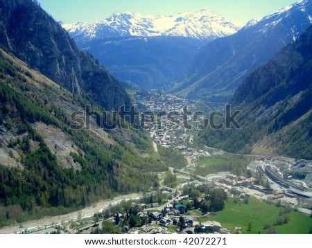 A view of Courmayeur seen from the Mont Blanc, Aosta Valley, northern Italy - stock photo