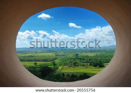 A view of cuban countryside landscape from Trinidad tower - stock photo