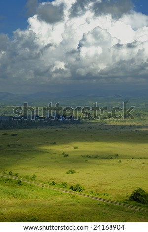 A view of cuban countryside landscape in sierra del escambray - stock photo