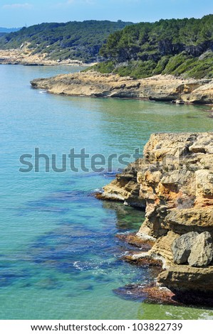 a view of different coves in Bosc de la Marquesa, Tarragona, Spain - stock photo