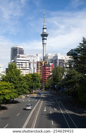 A view of downtown Auckland, New Zealand. - stock photo