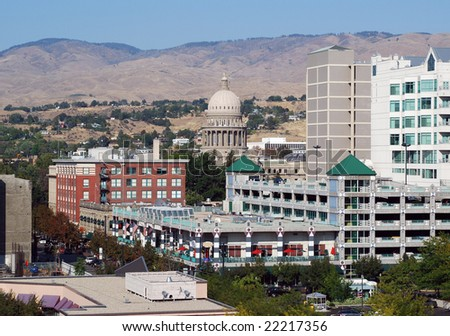 A view of downtown Boise Idaho on a bright sunny day - stock photo