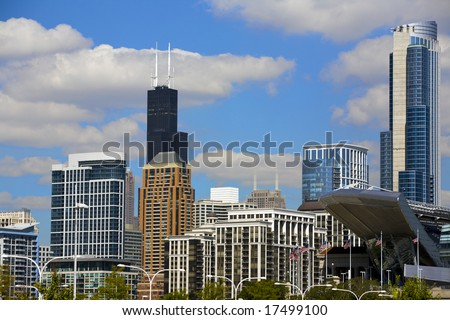 A view of downtown Chicago with Soldier Field partially visible. - stock photo