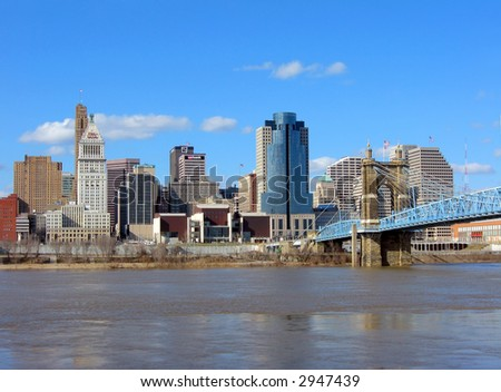 A view of downtown Cincinnati, the Ohio River, and the Roebling Suspension Bridge.