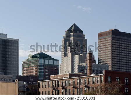 A view of downtown Des Moines Iowa - stock photo