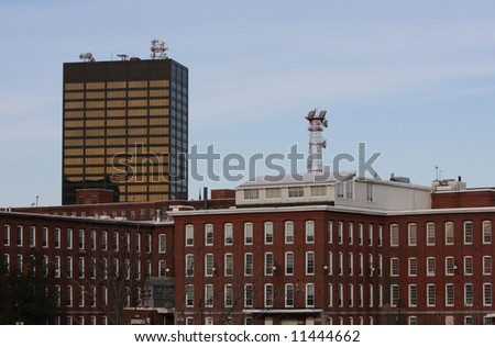 A view of downtown Manchester New Hampshire - stock photo