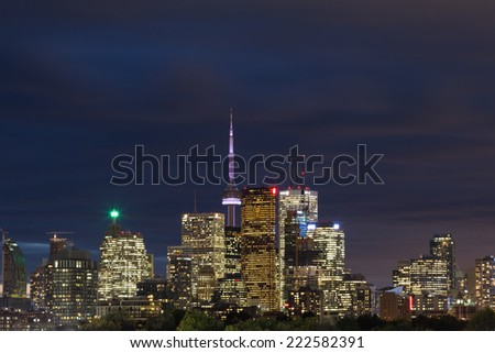 A view of downtown Toronto at dusk - stock photo