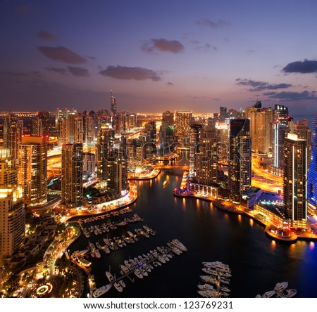 A view of Dubai Marina, at Dusk, also showing JBH - stock photo