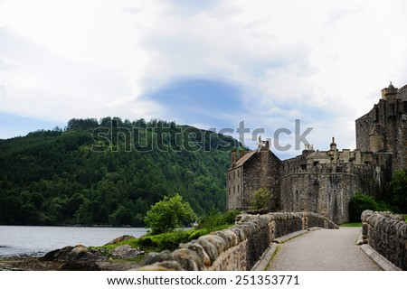 A view of Eilean Donan Castle, Scottish Highlands - stock photo