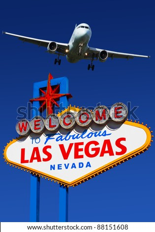 A view of flight landing  to  Las Vegas - stock photo