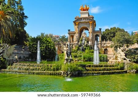 A view of Fountain of Parc de la Ciutadella, in Barcelona, Spain - stock photo