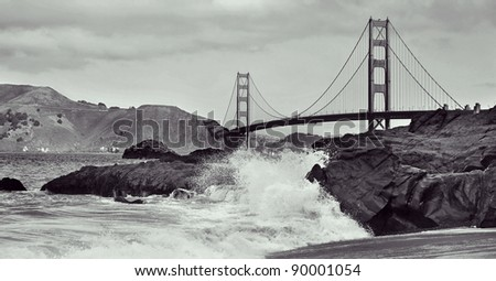 A view of Golden Gate Bridge from Baker Beach in San Francisco, United States - stock photo