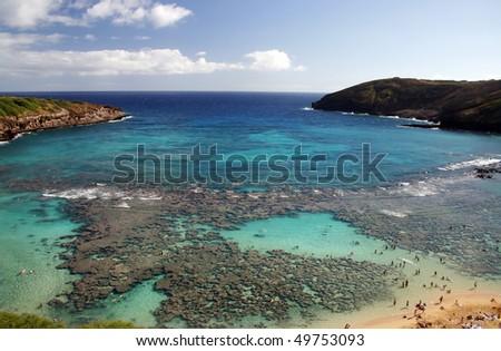 A view of Hanauma bay in Hawaii. - stock photo