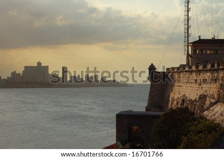 "A view of Havana bay and skyline from spanish fortress ""El Morro"" - stock photo"