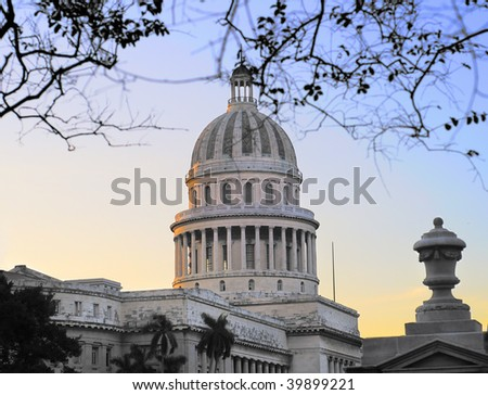 A view of Havana capitoly dome at sunset - stock photo