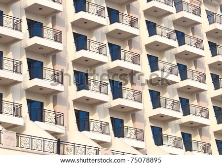 a view of hotel balcony - stock photo