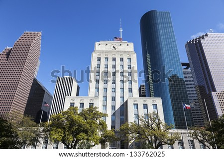 A View of Houston City Hall and Downtown, Texas - stock photo