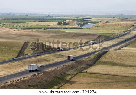 A view of interstate 5, through California's central valley.