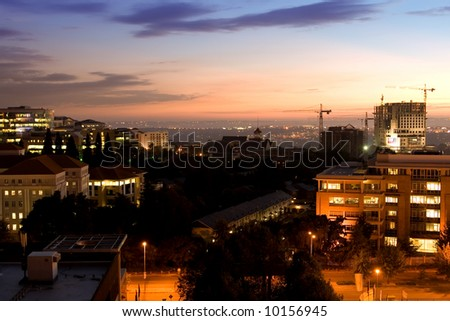 A view of Johannesburg under the sunrise sky - stock photo