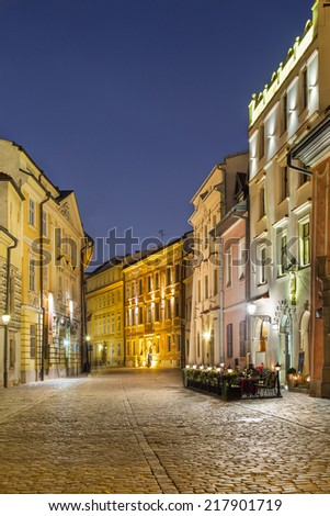 A view of Kanoniczna street in the dusk in Cracow, Poland
