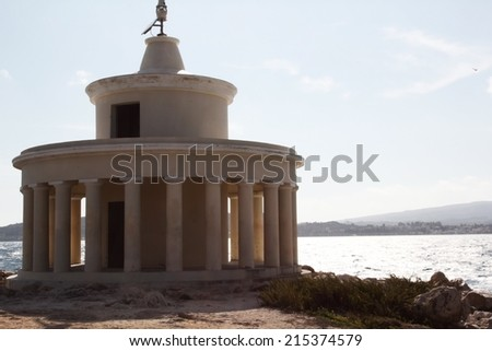 a view of Kefalonia lighthouse - stock photo