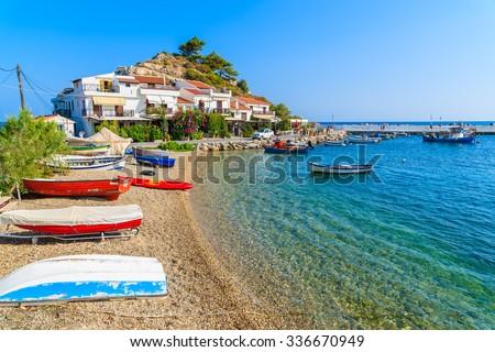 A view of Kokkari fishing village with beautiful beach, Samos island, Greece - stock photo