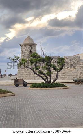 "A view of ""La Punta"" fort in Havana bay entrance - stock photo"