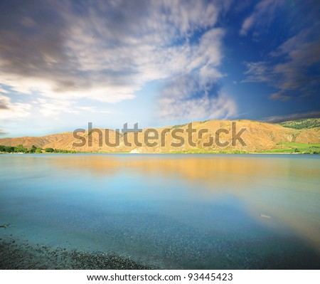 A View of Lake Chelan with a dramatic - stock photo