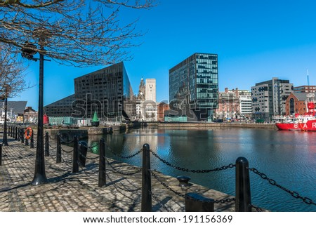 A view of Liverpool's modern buildings on Mann Island from the Albert Dock.  - stock photo