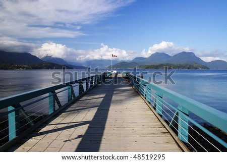 A view of loading bridge in a harbor in Keats island BC, Canada.