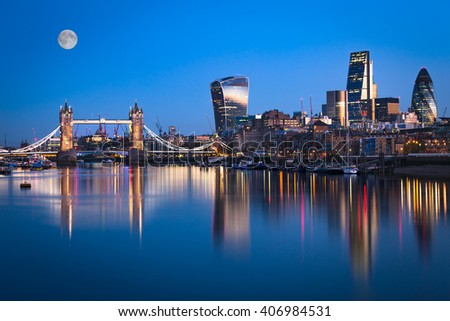A view of  london Tower Bridge skyline at dawn. - stock photo