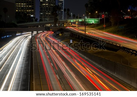 A view of Los Angeles traffic as seen from the 3rd Street overpass. - stock photo
