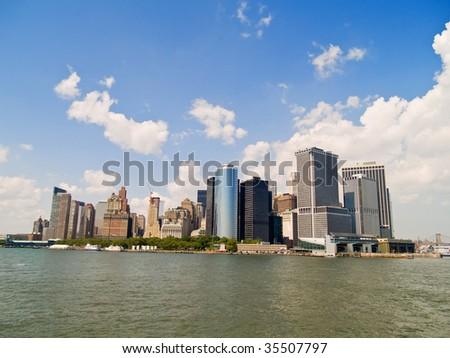 A view of lower Manhattan, New York from the Hudson River - stock photo