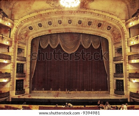 A view of luxurious theater in aged paper background - stock photo