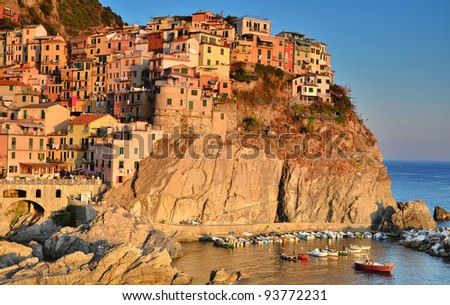 A view of Manarola, one of the five villages of the Cinque Terre on Italy's mediterranean coast - stock photo