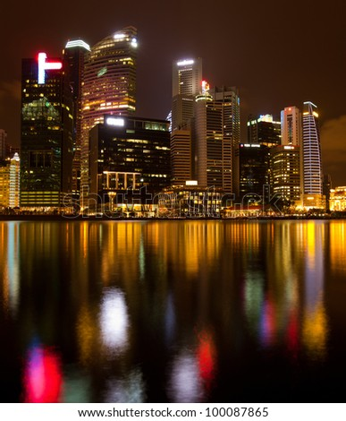 A view of Marina Bay, Singapore, in the night time