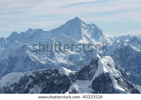 A view of Mt. Everest, 29,028 feet high, in the central Himalayan mountains in Nepal - stock photo