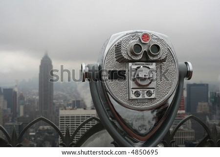 A view of New York City on an overcast day - stock photo