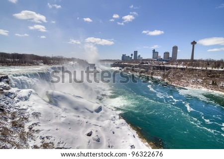 A View of Niagra Falls in the Winter - stock photo