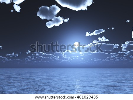 A view of night blue sky with clouds and full moon reflected on water - 3D-Illustration - stock photo