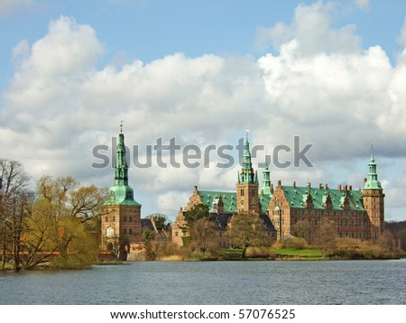 A view of old Frederiksborg castle near Copenhagen, Denmark