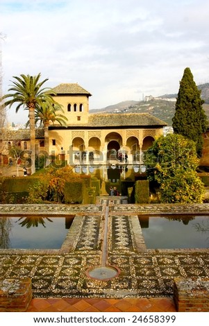 A view of one of the Moorish buildings at the Alhambra, Granada, Spain - stock photo