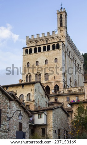 A view of Palazzo dei Consoli in Gubbio, Umbria - Italy. - stock photo