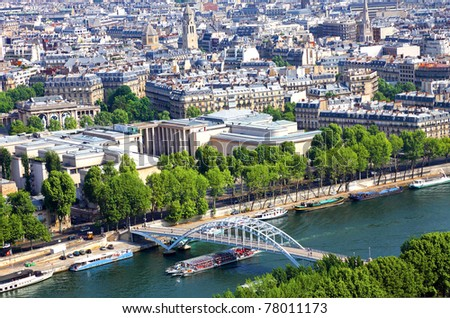 A view of Paris, captured from the Eiffel Tower, France - stock photo